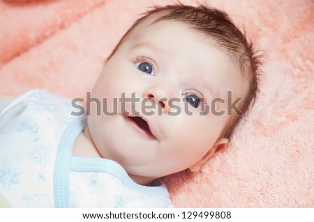 beautiful newborn baby - stock photo