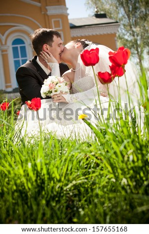 Beautiful newly married couple kissing on flowerbed - stock photo