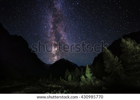 Beautiful night landscape. Milky Way with stars in the Altai Mountains. Siberia. Russia - stock photo