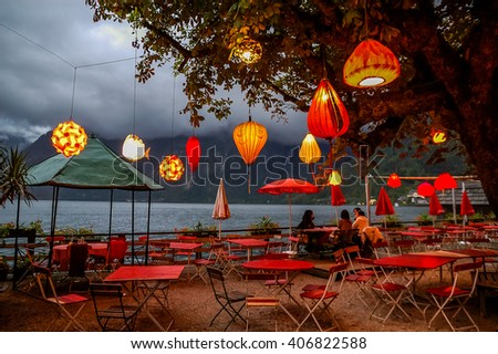 Beautiful night panorama of Hallstadt, Austria. - stock photo