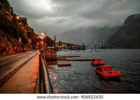 Beautiful night panorama of Hallstadt, Austria. - stock photo