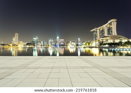 beautiful night scene of urban city  - stock photo