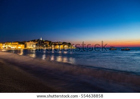 Beautiful night scenery on the Adriatic Sea in Croatia, in summer