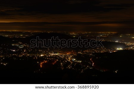 Beautiful night sky, cityscape view of Baden-Baden - stock photo