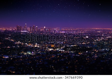Beautiful night sky, cityscape view of Los Angeles - stock photo