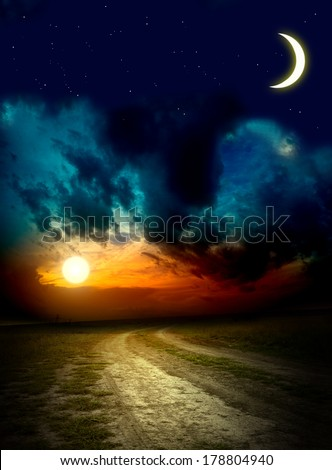 Beautiful night sky with a lot of stars  - stock photo