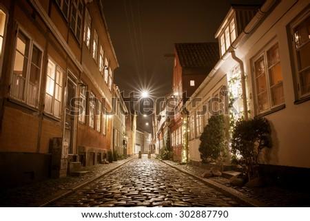 beautiful night stone streets Helsingor - stock photo