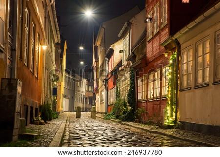 beautiful night streets Helsingor - stock photo