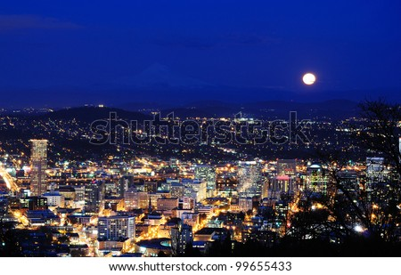 Beautiful night view cityscape from pittock manson