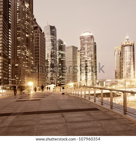 beautiful night view in shanghai - stock photo