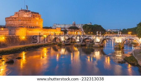 Beautiful night view of Castel Santangelo - Rome.  - stock photo