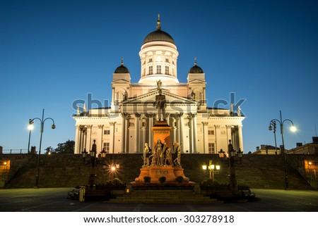 Beautiful night view of famous Helsinki Cathedral in beautiful evening light, Helsinki, Finland - stock photo