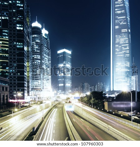 beautiful night view of modern buildings in shanghai