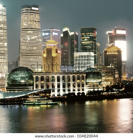 beautiful night view of shanghai skyline - stock photo