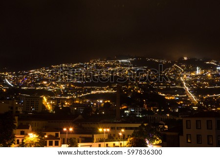 Beautiful night view of the capital of Madeira Funchal, Portugal.