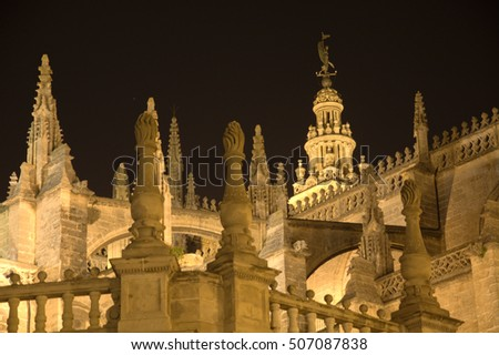 beautiful night view of the Cathedral of Seville in Andalusia Spain