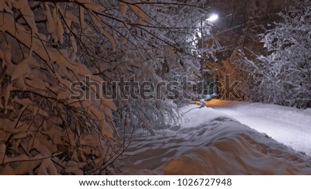 Beautiful night view of the park after heavy snowfall, Medvedkovo district, Moscow