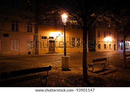 beautiful night view of the street in Prague - stock photo