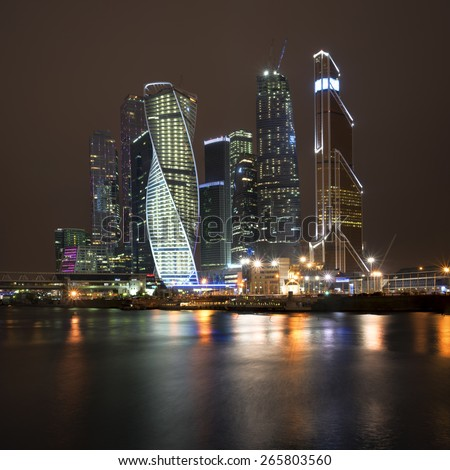 Beautiful night view Skyscrapers international business center from the Moscow river - stock photo