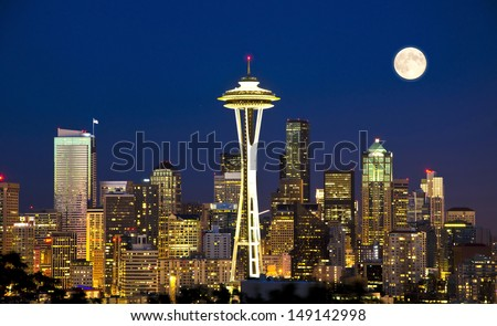 Beautiful nightview of seattle from kerry park - stock photo