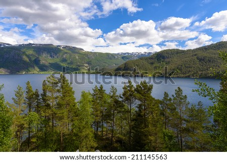 beautiful Norway scenery in a sunny spring day