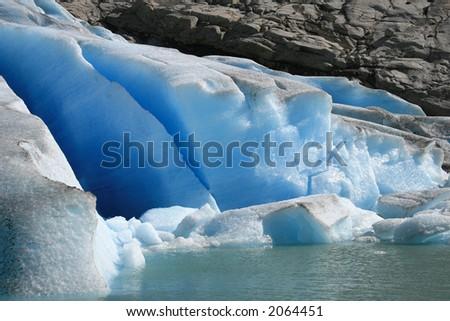 Beautiful norwegian glacier Briksdale in detail - stock photo