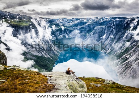 Beautiful norwegian landscape with mountains on the the way to trolltunga - stock photo