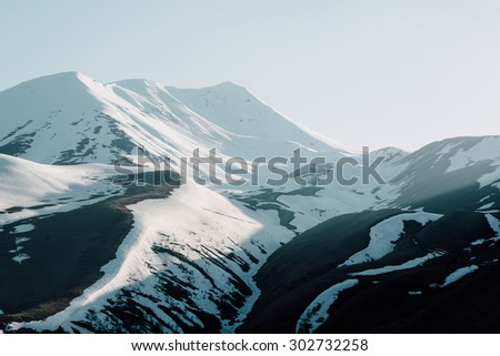 beautiful now mountains - stock photo