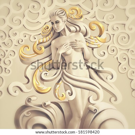 Beautiful nude woman. Fantasy computer graphic illustration - stock photo