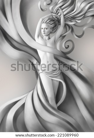 Beautiful nude woman with a  tissue over her hips - stock photo