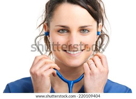 Beautiful nurse portrait  - stock photo