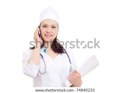 Beautiful nurse tells by phone  case record on white background