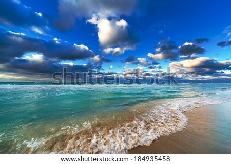 beautiful ocean and sky on the sandy beach