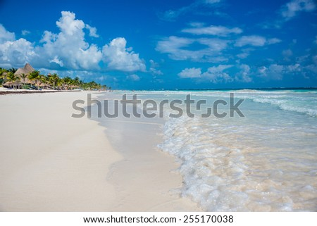 Beautiful ocean at caribbean destination, traveling Mexico. Central America.