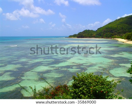 Beautiful ocean bottom, and landscape in Seychelles