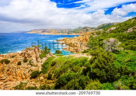 Beautiful ocean coastline landscape during sunny day, Costa Paradiso, Sardinia, Italy - stock photo