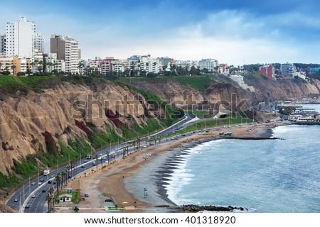 beautiful ocean shore at the big city - stock photo