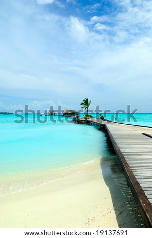 beautiful ocean view from tropical island in Maldives - stock photo