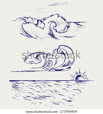 Beautiful Ocean Wave. Doodle style. Raster version - stock photo