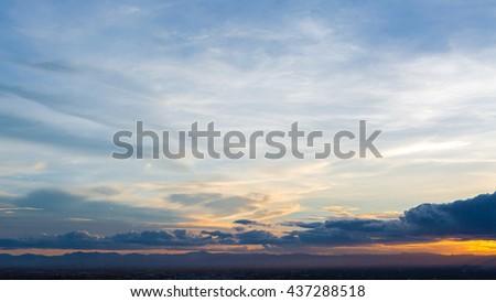 Beautiful Of Bright Horizon Sunset Background. - stock photo