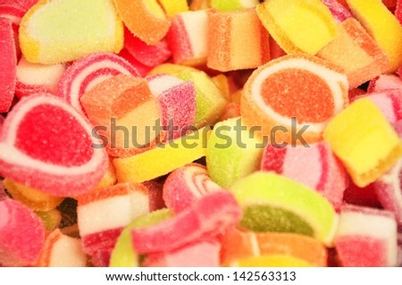 beautiful of colorful fruit jelly candy in Thailand