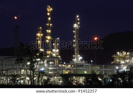 beautiful of oil and gas refinery power petrochemical plant factory shined at night
