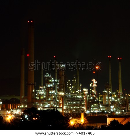 beautiful of oil and gas refinery power petrochemical plant factory shined at night - stock photo