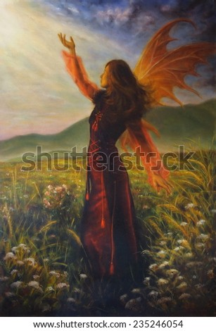 Beautiful oil painting of a fairy woman standing on a meadow amids rays of streaming sunlight - stock photo