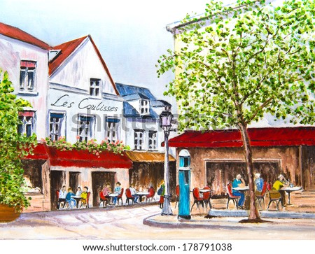 Beautiful oil painting of a French village square - stock photo