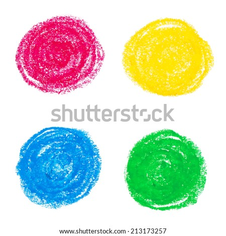 Beautiful oil pastel round design elements.