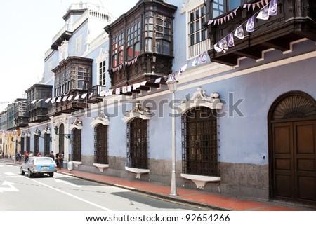 Beautiful old architecture of Lima, Peru. - stock photo