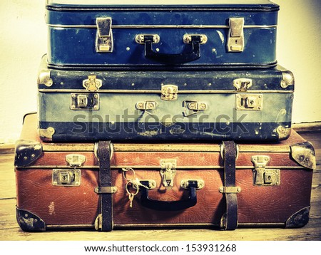 beautiful old blue and brown suitcases - retro style - stock photo