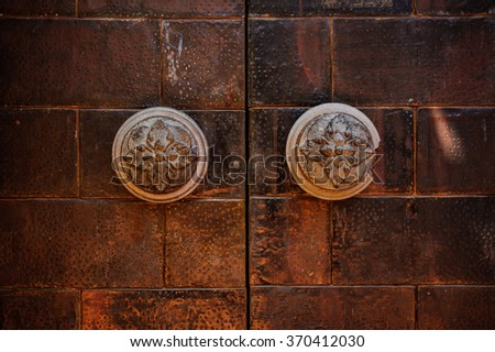 Beautiful old brass Vintage Door Handle background  - stock photo
