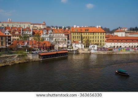 beautiful old brick bridge, Prague,Czech Republic - stock photo